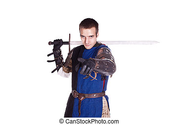 the knight. - Shooting in a studio in the armor, and people...