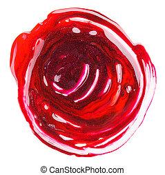 Red and purple nail polish (enamel) messy mixed sample,...
