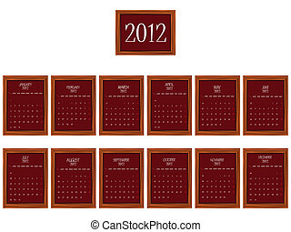 2012 frames calendar against white background, abstract...