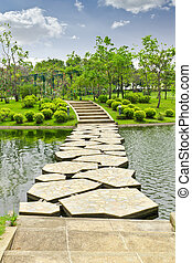 stone walkway on water in the park