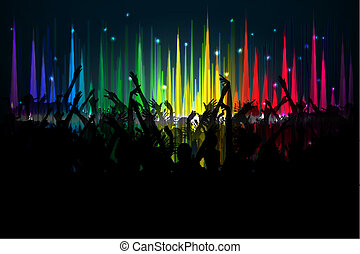 Music Party - illustration of cheering crowd on spectrum of...