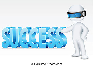 3d Man with Success