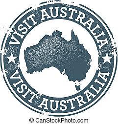 Visit Australia stamp for tourism.