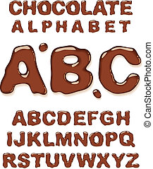 Chocolate alphabet Vector illustration