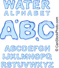 Water alphabet. Vector letters set.