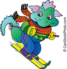 Baby dragon-skier. Vector art-illustration on a black...