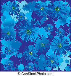 Cornflowers. Vector art-illustration on a blue background....