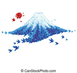 Fuji mount shaped from origami birds - Fuji shaped from...