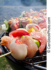 Skewers cooking on barbeque