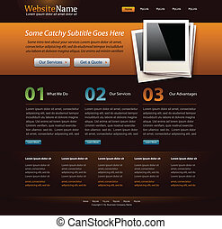 web site design template - orange theme  - editable vector