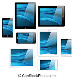 touchscreen tablet and mobile phone icons - black and white...