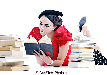 beautiful young woman read book - young student woman in...