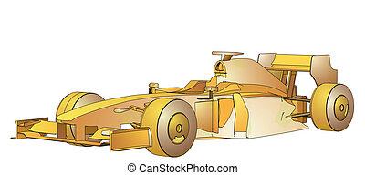 Golden Race Car