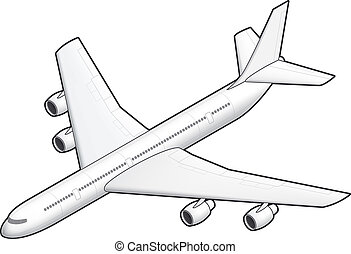 Airplane - 3D Isometric White Airplane