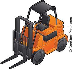 Forklift - 3D Isometric White Forklift