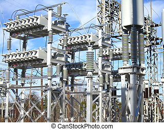 Capacitor Bank at Power Substation - Capacitor banks on a...