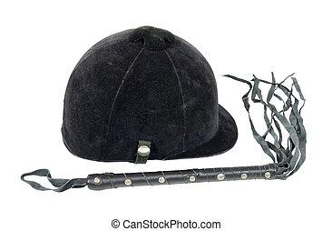 Equestrian Helmet and Leather Whip - Black velvet equestrian...