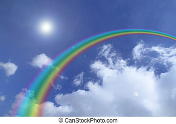 rainbow and Cloud in the blue sky