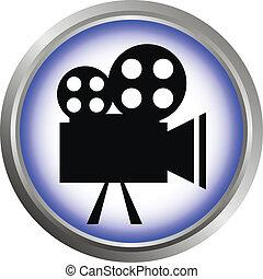 Vector icon (button). The Videocamera silhouette.