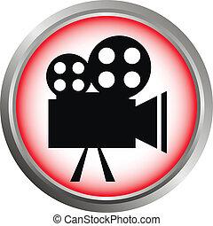 Vector icon camera - Vector icon (button). The Videocamera...