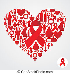 Circle shape with red AIDS icon set - AIDS icon set in...