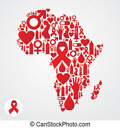 Africa map symbol with AIDS icons - Africa map silhouette...