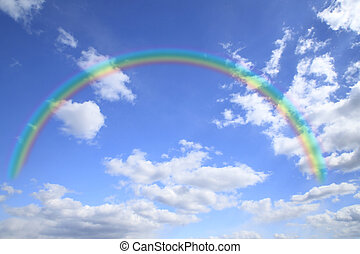 raibow anod cloud in the blue sky - rainbow and cloud in the...