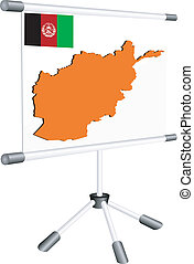 Vector display with a silhouette map of Afghanistan