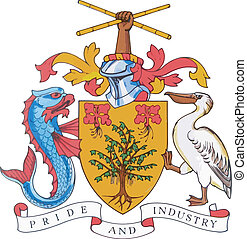The national coat of arms of Barbados