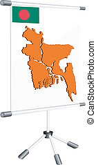 Vector display with a silhouette map of Bangladesh