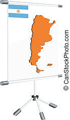 Vector display with a silhouette map of Argentina