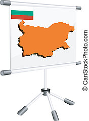 Vector display with a silhouette map of Bulgaria