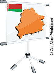 Vector display with a silhouette map of Belorussia