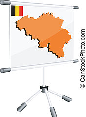 Vector display with a silhouette map of Belgium