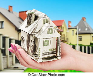 saving up money for a new house - house of the money in his...