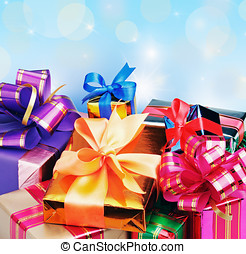 colored box with gifts on a blue background