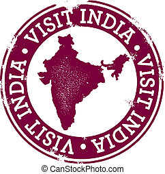 Vintage Visit India Stamp - A distressed stamp for travel...