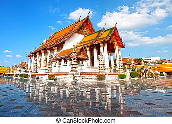 Thai temple, Wat Suthat attractions. In Bangkok, Thailand.