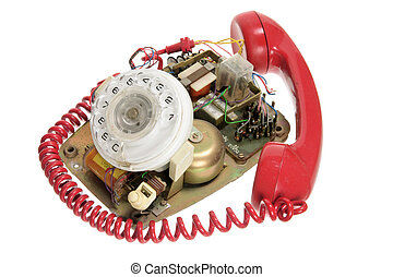 Broken Dial Phone on White Background