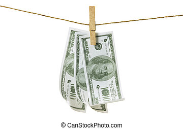 Clothes Line with Dollar Notes on White Background