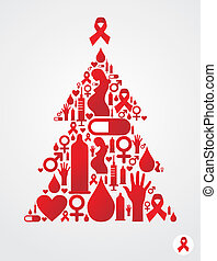 Christmas tree with AIDS icons