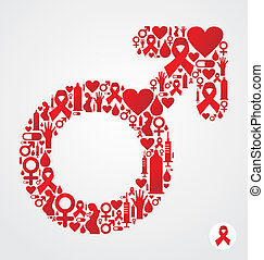 HIV icon set in male symbol shape - Male symbol silhouette...