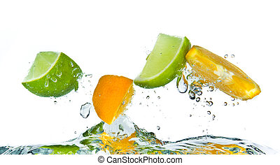 citrus fruit splashing isolated on white background