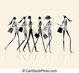 Fashion girls with shopping bags, illustration for your design