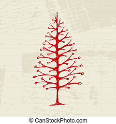 Sketch of christmas pine on sheet for your design