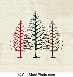 Sketch of christmas pines on sheet for your design