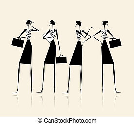 handlowy, damski, sylwetka, twój, projektować