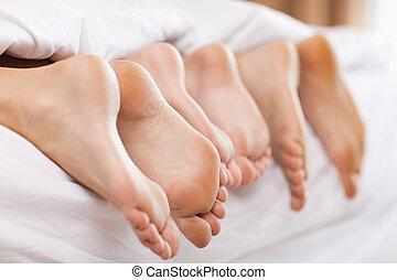 fim, cima, família, pés