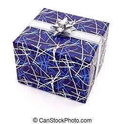 Blue gift on white