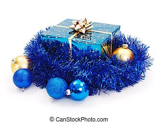 Blue Christmas gift surrounded with blue garland